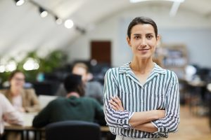 Modern Businesswoman Posing in Office